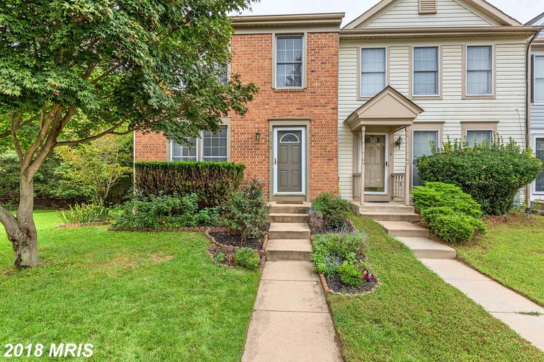 Lovely brick front end of group townhome in Seven Oaks. Large kitchen with island and dining space opens to spacious deck overlooking fenced backyard. Home backs to mature trees providing privacy.  Lower level features recroom opening to patio. Upstairs you'll find 3 bedrooms and 2 full baths. Beautiful wood floors throughout main level.